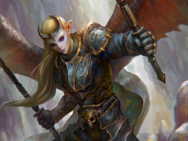 Tiefling Dark Women Warrior Fantasy