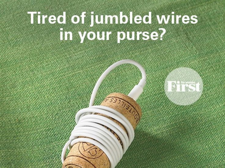 It's handy to stash your trusty earbuds in your purse, but the wires inevitably end up jumbled. To the rescue: a wine cork! Simply poke a hole in...