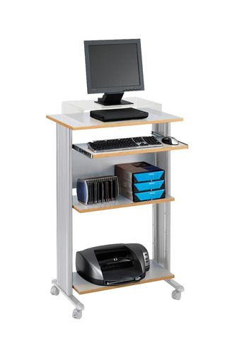 safco products muv standup desk fixed height computer workstation with keyboard shelf gray