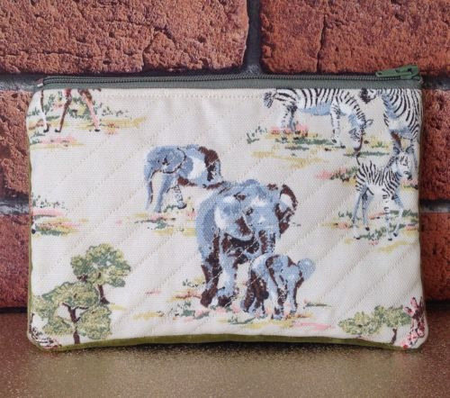#Small quilted cath kidston safari #fabric makeup bag or purse #handmade,  View more on the LINK: 	http://www.zeppy.io/product/gb/2/182131176898/