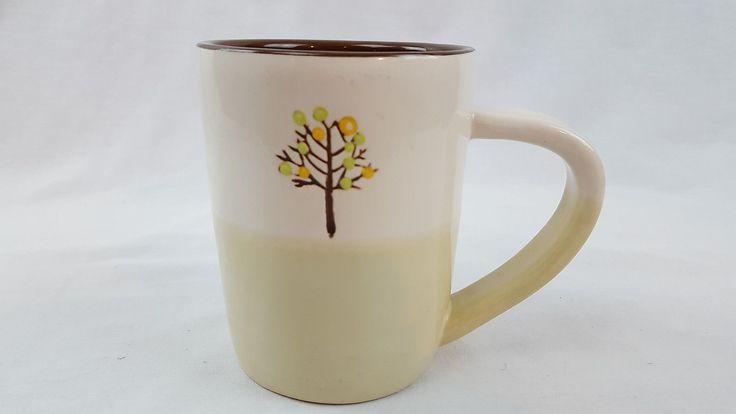Starbucks Beige Two-Tone Coffee Tea Mug Cup Brown Tree Yellow Green Flowers | eBay