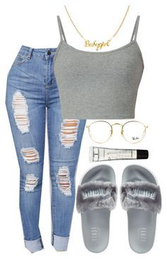 """""""Still Think About You x A Boogie✂"""" by ssophiiia ❤ liked on Polyvore featuring Puma, Ray-Ban and M.A.C"""