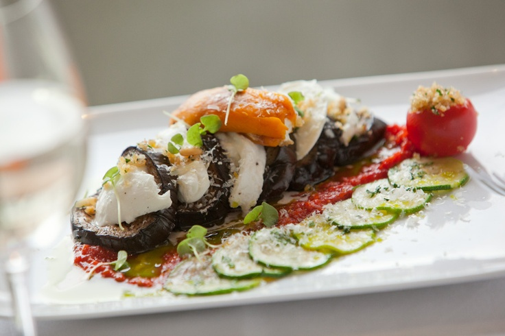 Eggplant parmesan… baked tomatoes, stuffed pepper, capers, pine nuts
