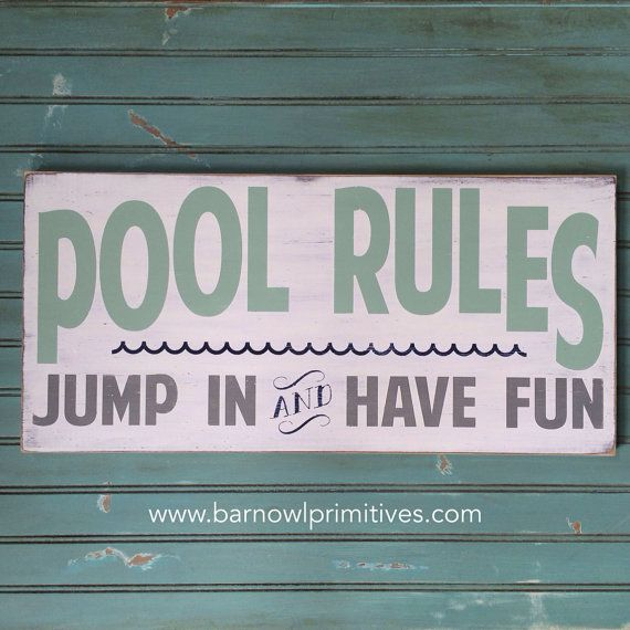 Pool Rules Vintage Style Typography Word Art by barnowlprimitives,