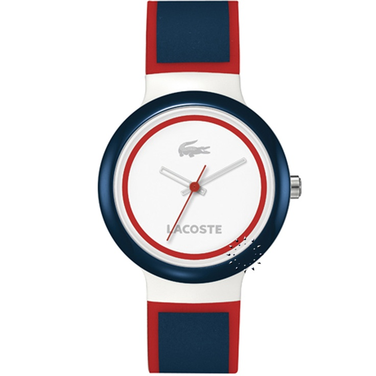 LACOSTE GOA White and Red Rubber Strap  68€  Αγοράστε το εδώ:  http://www.oroloi.gr/product_info.php?products_id=28442