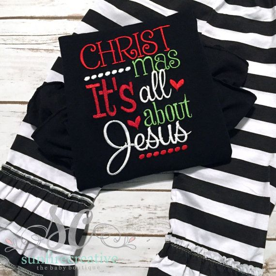 Baby Girl Christmas Outfit - Girls Christmas Shirt - Religious Holiday Outfit - Baby's First Christmas Outfit