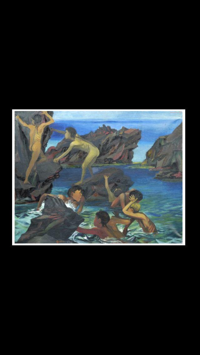 """Renato Guttuso - """" Bambini che giocano sugli scogli (Scilla) """", 1950 - Olio su tela - 73 x 95,5 cm"""