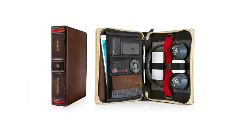 """This """"vintage book"""" is designed to hold your iPad and the essential accessories that go with it. Inside you'll find a collection of pockets and adjustable bands that neatly organise and protect items like your power adapter, cables, USB drives, stylus, mouse, earbuds, headphones - even Valentine's Day chocolates! Say bye-bye to your backpack. Everything you need for the road fits inside the BookBook Travel Journal."""