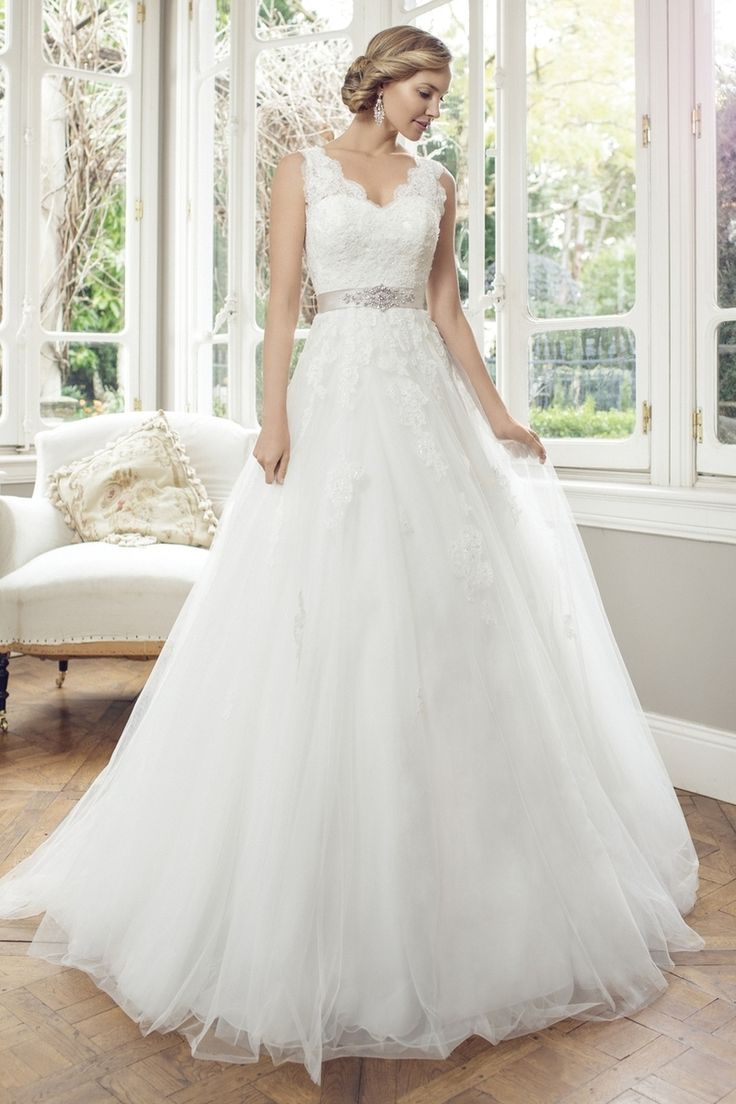 Mia Solano - M1450Z - Allyson Tulle A-line wedding dress with sweetheart neckline and lace shoulder straps complemented by jeweled satin waistband detail. Back features include keyhole opening. Chapel length train. (http://www.miasolano.com/m1450z-allyson/) Available at Bridal Gallery  5975 Malden Road  LaSalle, Ontario Canada 519-800-0315