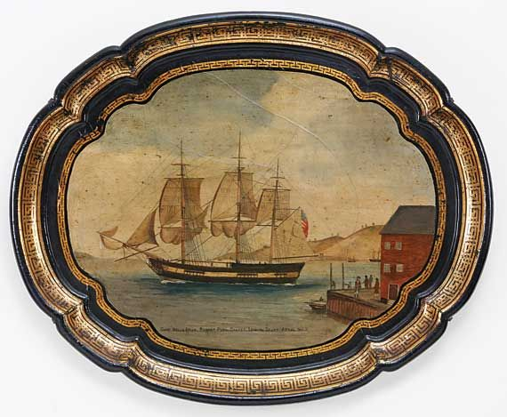 "PAINTED TOLE TRAY OF THE ""SHIP BELISARIUS""