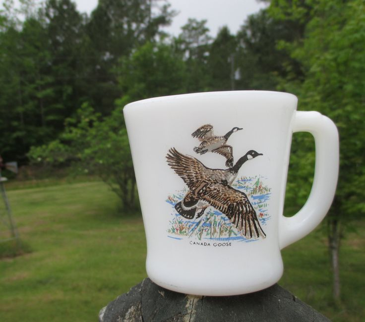 Vintage Fire King White Coffee Mug--D Handle--Canada Goose--Hunting--Oven Ware 26--Made in USA--Retro Kitchenware--Coffee Cup--Mid Century by AlloftheAbove on Etsy
