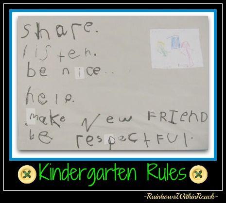 Handwritten Kindergarten Rules