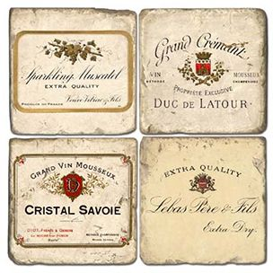 Stone Coasters French Wine Labels Iii Coaster Set