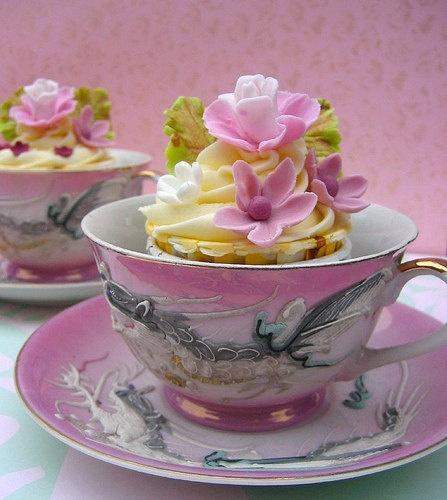 Serve cupcakes in teacups for vintage bridal wedding shower.  For ideas and goods shop at Estate ReSale & ReDesign, in Bonita Springs, FL
