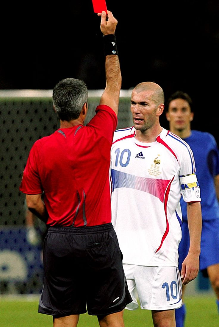 France's Zinedine Zidane is dismissed for violent conduct after butting Marco Materazzi in the 2006 World Cup final.