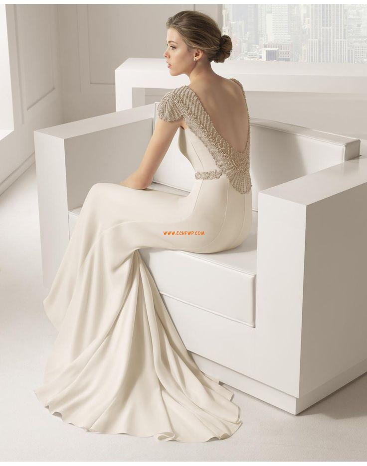 Střih Klenot Krátké rukávy Lemování Svatební šaty 2015
