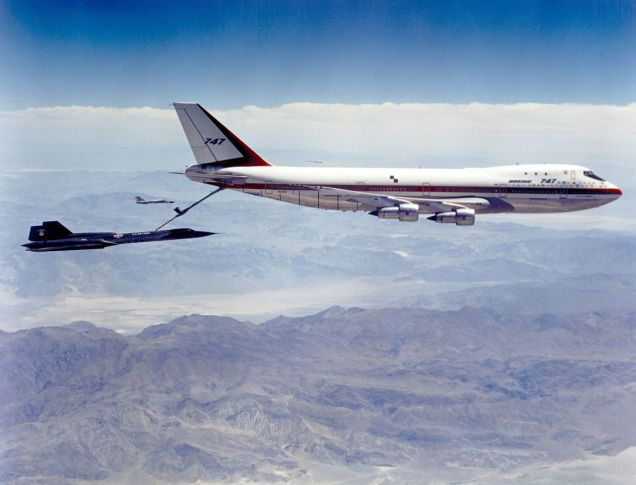 The Advanced Tanker-Cargo Aircraft, or ATCA, was first proposed by officials from the US Air Force's Strategic Air Command in 1967.  Here, a crew in an SR-71 (Air Force serial number 61-7955) connects with the 747 while an F-111 crew flies safety chase. The Air Force selected the DC-10 as the ATCA winner and sixty KC-10 Extenders were eventually built.