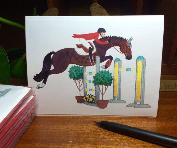 Handmade Illustrated Hunter Jumper Greeting Card: Dark Bay