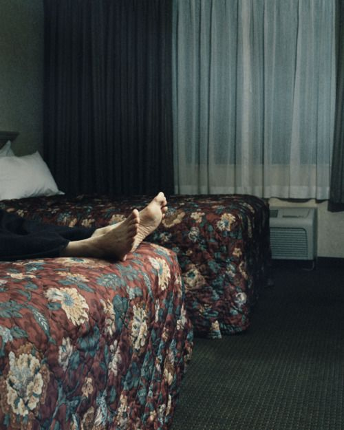 motel sleeping, I love this, the bed is always made :)