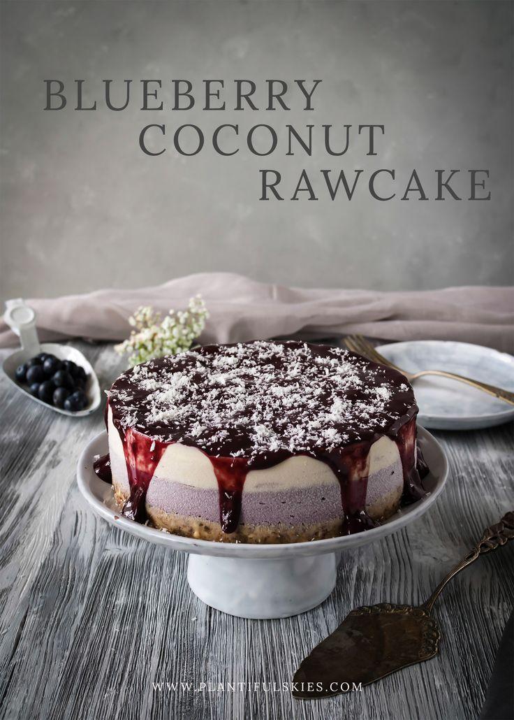 Eisgekühlter, cremiger Rawcake aus Kokos und Blaubeeren. Die fruchtige Sünde des Sommers. Vegan, glutenfrei und rein rohköstlich!
