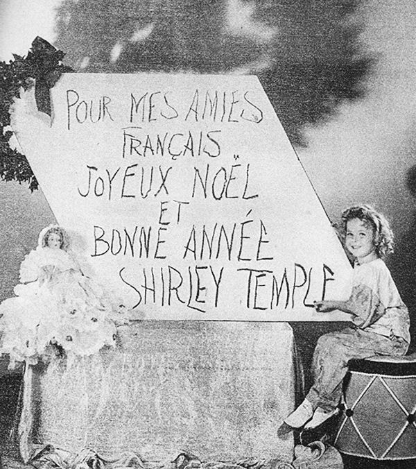 Shirley Temple's Christmas message to her French fans, 1935.
