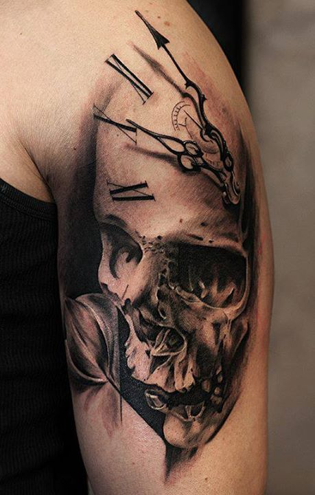 Skull clock tattoo                                                       …