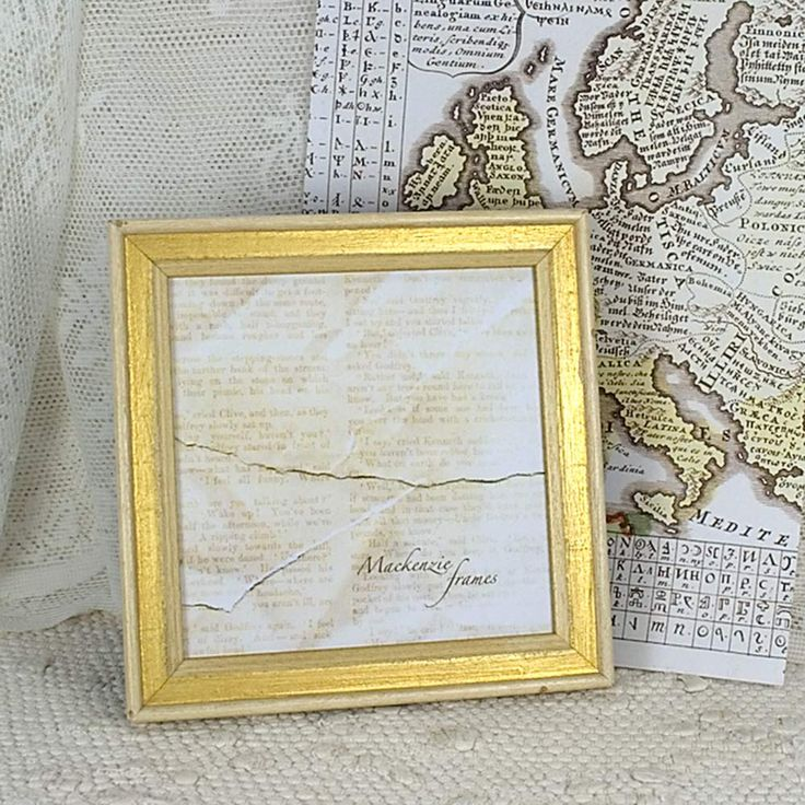 5x5 Square Simple Shabby and Chic White & Gold Narrow Photo Frame