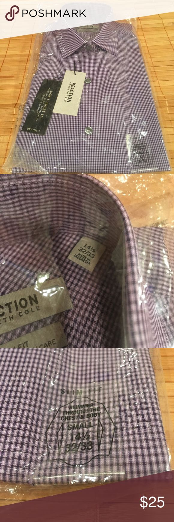 """Kenneth Cole Reaction Men's Shirt- NWT size 14.5 Kenneth Cole Reaction Men's long sleeved shirt in ORIGINAL PACKAGING WITH ALL TAGS. On-trend print and colors. It's a """"slim fit"""" and tag reads """"slimmer through chest and body"""". dry Tek fabric means """"better moisture control, breathability and comfort"""". The """"easy care"""" fabric is great for a college guy or bachelor- no ironing! My son wears these year round. Roll up sleeves for casual look or wear with a tie. Color is """"Bright Violet"""". Size is…"""