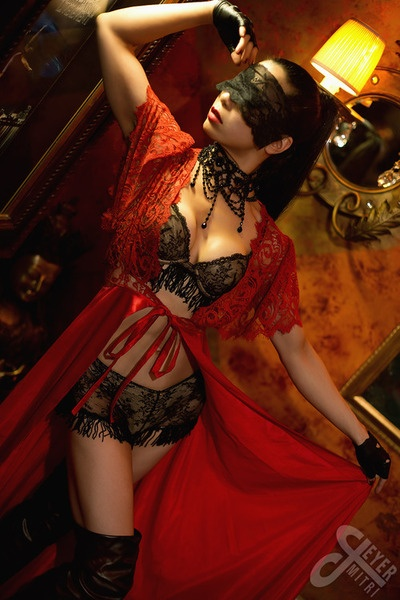 Red & Black Lace Lingerie: Black Lace