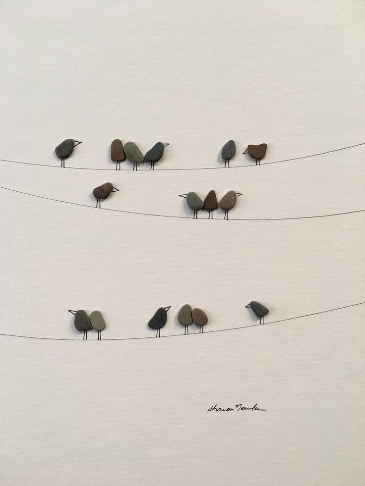 A arte com pedras de seixo de Sharon Nowlan