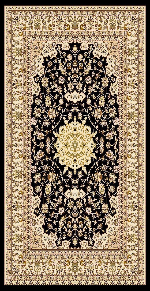 2-Piece Set | Antique Persian Black Brown Traditional Rugs with Rug Pad