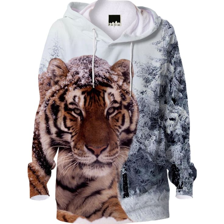 Siberian and Snow Tiger Hoodie designed by Erika Kaisersot   Print All Over Me