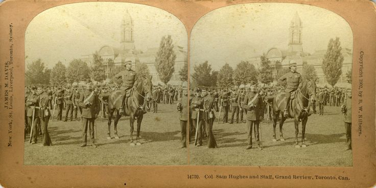 Col. Sam Hughes and staff at the CNE during the Grand Review on the occasion of the royal visit of King George V in 1901. This is a stereoscopic pair of images (the same scene shifted slightly for the left and right eyes), intended to be viewed as a single, three-dimensional image.