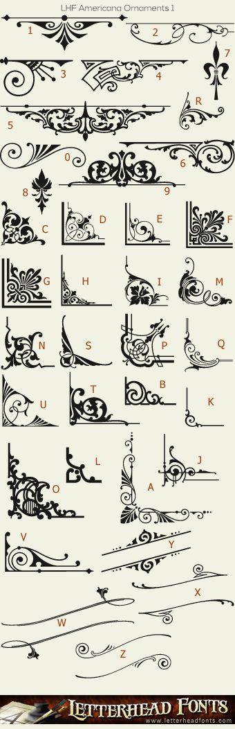 Letterhead Fonts / LHF Americana Ornaments font / Vintage Panels