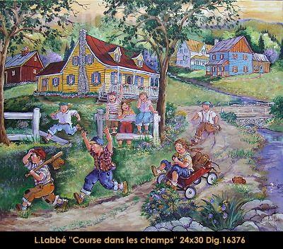 Original oil on canvas painting by Lise Labbé #labbe #art #artnaif #fineart #figurativeart #kidscharacters #summer #race #canadianartist #quebecartist #originalpainting #oilpainting #balcondart #multiartltee