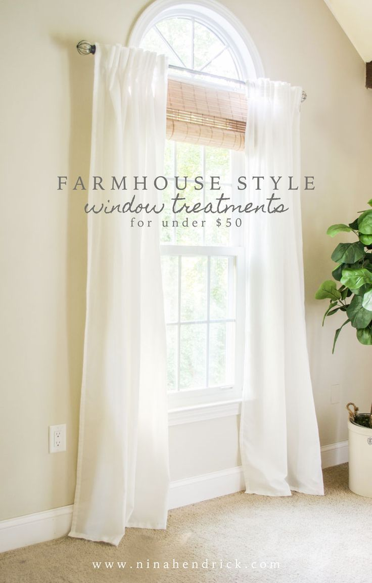 Stylish Budget Window Treatments | Get the look of farmhouse window treatments for under $50! #windowtreatments #diy #farmhouse #farmhousestyle #curtains #homedecor