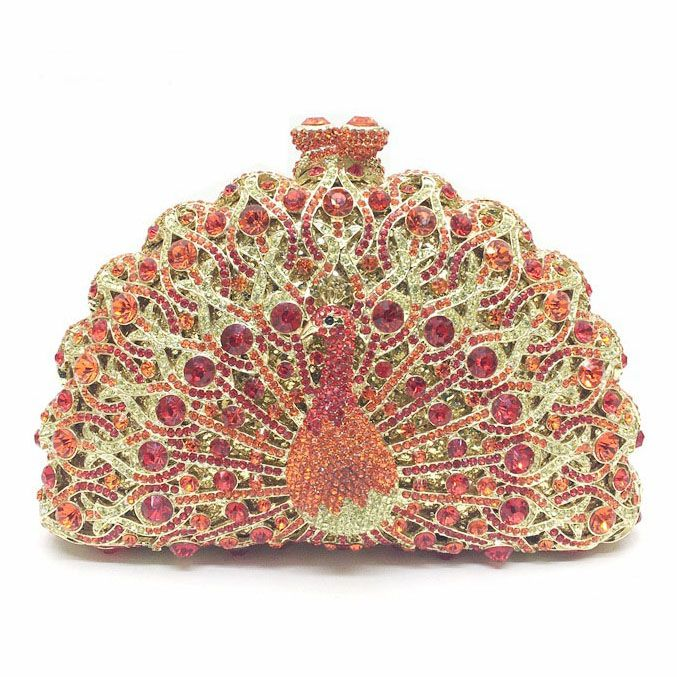 Bling Bling Women Rhinestone Purese Women Handbag Rhinestone Evening Clutch Bag Makeup Bag 3D Rhinestone Peacock Clutch Bag