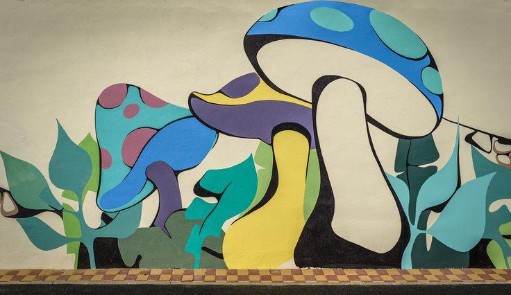 "Kids wall art Colored Mushrooms Scene from ""Disney World"" @Parcul Morii | Ciuperci colorate pictate pe perete"
