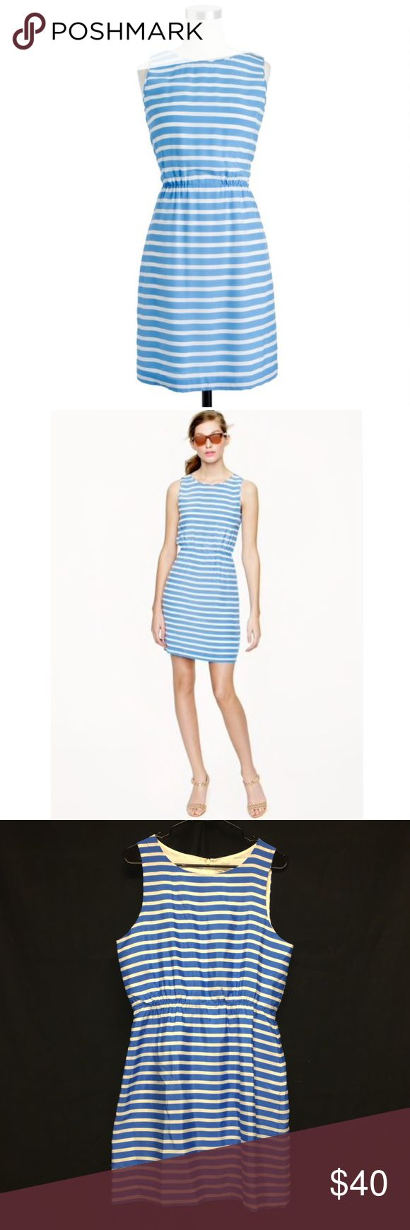 "J. Crew Dree Dress in blue & white stripes A chic shift dress fashioned with a gathered elastic waist (so it fits as effortlessly as it looks) is sweet and simplistic in luxe silk. Nautical stripes cast a summery feel. Straight silhouette with hidden centered back zip. Silk.  Elastic at waist. Fully lined. All measurements are approximate & lay flat:   ~ Length: 36""   ~ Bust: 19""   ~ Waist: 15"" Color may vary due to camera lightings and different computer screens J. Crew Factory Dresses"