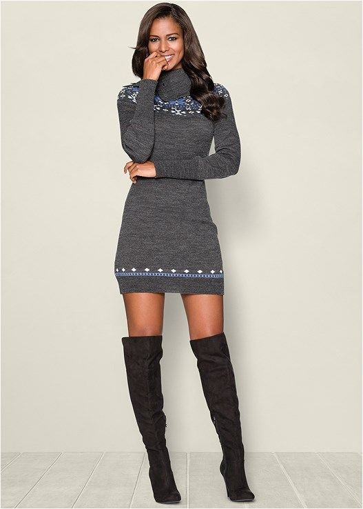 Venus Women's Turtleneck Sweater Dress - Grey, Size L