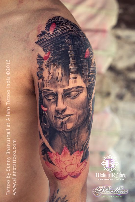 This is one of the best Lord Shiva Tattoos done by Sunny Bhanushali at Aliens Tattoo India. This is no surprise as Sunny is known for these kinds of Jaw-Dropping tattoo art, isn't it?. Client is getting a full sleeve tattoo and this was a second session towards it. You can visit HERE to see the first sessions work. He wishes to have different states of Lord shiva filling up his entire arm...