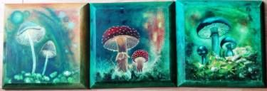 "Saatchi Art Artist Ildiko Decsei Csegoldi; Painting, ""Magic mushroom 1,2,3 Trypticon"" #art"