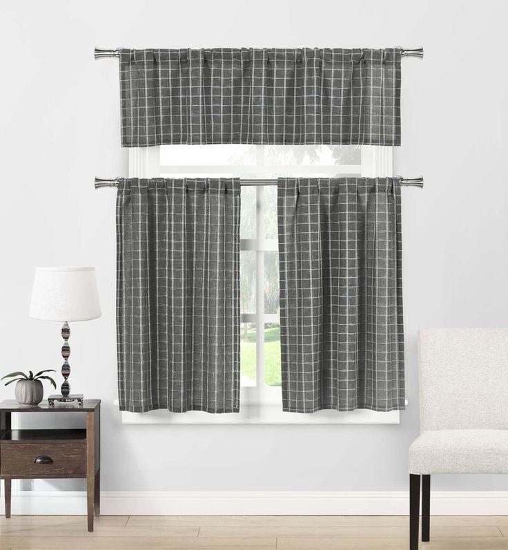Duck River Rivietta Floral Linen 3 Piece Kitchen Curtain: 55 Best SHOWER CURTAINS-White, Tailored, Border Images On