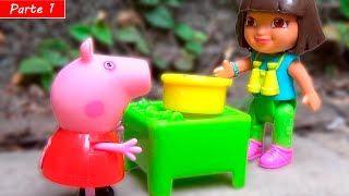 Peppa Pig e George Vão Acampar com a Dora Aventureira! Em Português [Parte 1] - YouTube