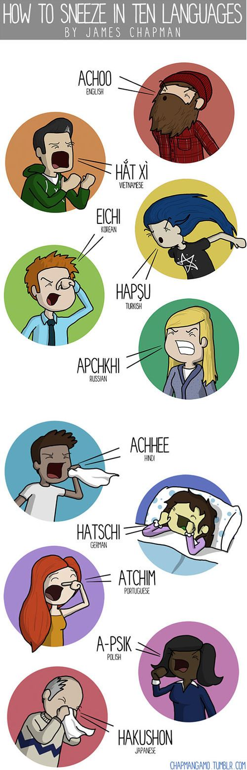 how to sneeze in 10 languages...