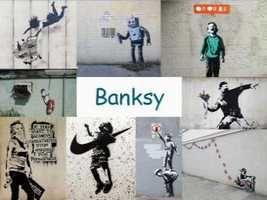 Leuke en informatieve powerpoint over Banksy voor 5, deze en nog vele andere kun je downloaden op de website van Juf Milou.