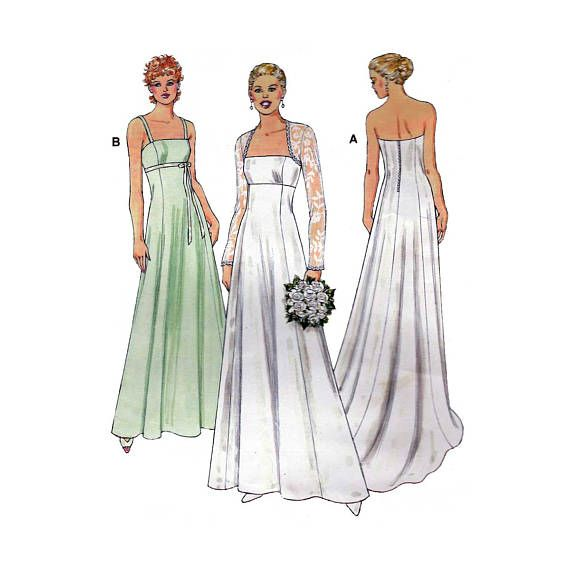 Fresh Women us Strapless Wedding Gown with Train Formal Dress and Bolero Sewing Pattern Misses Size XS S M L XL Uncut Kwik Sew