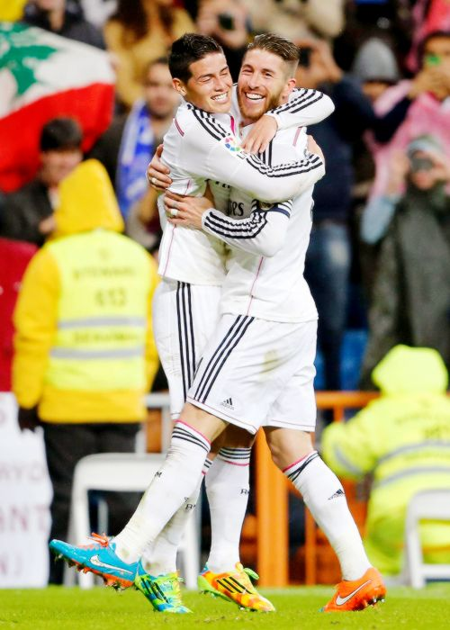 James and Ramos 8.11.14 celebrationg Ramos goalTeam Real Madrid