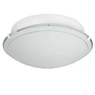 plafon redondo con vidrio curvo satinado 25cm 2 luz - oferta