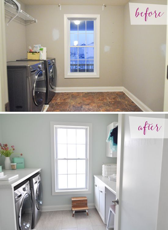 My laundry room is like the top Picture, I want to make it look like the bottom picture.  IHeart Organizing: Reader Space: Loads of Love for Laundry